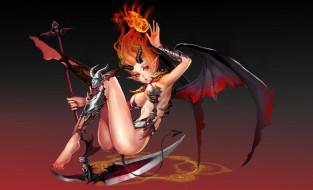 обои для рабочего стола 4948x3012 аниме, ангелы,  демоны, рога, взгляд, фон, девушка, крылья
