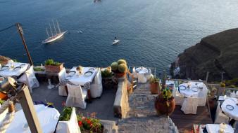 столики, сервировка, терраса, яхта, залив