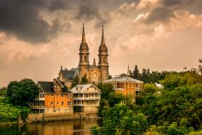 обои для рабочего стола 1920x1280 города, - католические соборы,  костелы,  аббатства, река, храм