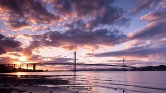 города, - мосты, облака, река, небо, мост, закат