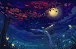 рисованное, животные, небо, ночь, дерево, взлетает, птица