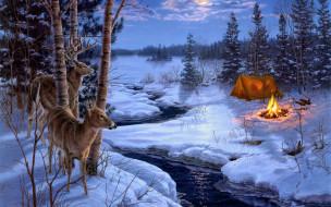 рисованное, животные, олени, река, зима, костёр, лодка, палатка, топор, лес, берег, вечер