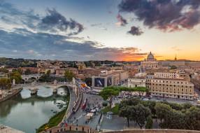 rome, города, рим,  ватикан , италия, панорама