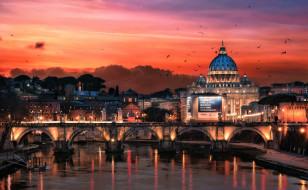 города, рим,  ватикан , италия, ночь