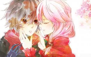 аниме, guilty crown, корона, грешника, guilty, crown, руки, слеза, fan, art, inori, yuzuriha, шарф, розовые, волосы, shu, ouma