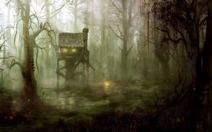 фэнтези, иные миры,  иные времена, лукоморье, лес, избушка, чаща, окно, сказка, свет