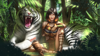 фэнтези, красавицы и чудовища, kiera, белый, тигр, арт, джунгли, лес, девушка