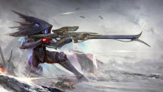 фэнтези, роботы,  киборги,  механизмы, фантастика, warframe, стрелок, оружие, игра, sniper, rifle, арт
