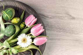 праздничные, пасха, тюльпаны, писанки, бант