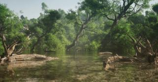 3д графика, природа , nature, лес, река