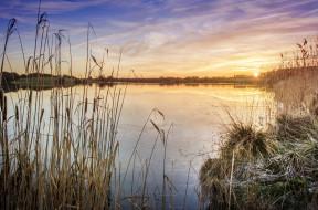природа, реки, озера, рассвет