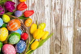 праздничные, пасха, корзинка, писанки, тюльпаны