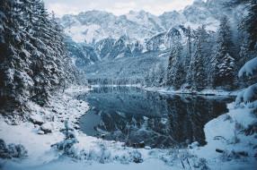 природа, зима, лес, снег, озеро, горы