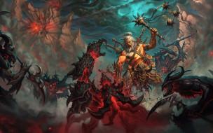 демоны, булава, богатырь, человек, Викинг, сражение, битва, оружие, монстры, нежить