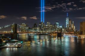 города, нью-йорк , сша, ночь, огни