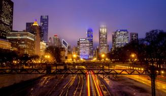 chicago skyline, города, Чикаго , сша, огни, ночь