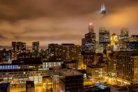 chicago clouds, города, Чикаго , сша, ночь, огни