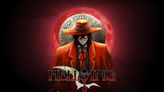 аниме, hellsing, blood, moon, alucard