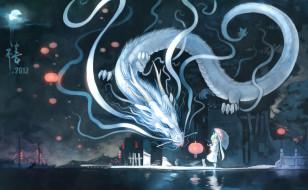 аниме, vocaloid, кошка, hatsune, miku, арт, пристань, зонт, yuushouku, город, луна, дракон, ночь, фонарь