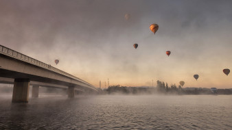 мост, река, шары