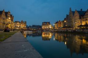 набережная, небо, ночь, Бельгия, Фландрия, канал, огни, люди, дома, Гент