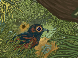 рисованное, животные, птичка