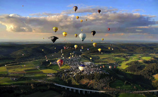шары, мост, много, панорама, поля, горы