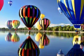 отражение, шары, река
