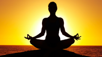 лотос, поза, вечер, Медитация, солнце
