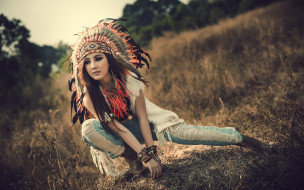 разное, маски,  карнавальные костюмы, перья, индианка, девушка, дикий, запад
