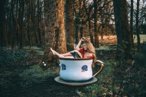 юмор и приколы, чашка, лес, девушка, книга