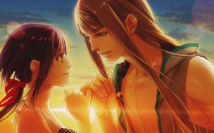 аниме, kamigami no asobi, небо, солнце, длинные, волосы, kamigami, no, asobi, yone, kazuki, игры, богов, art, yui, kusanagi, balder, hringhorni, visual, novel, обещание, руки, двое