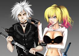 обои для рабочего стола 3508x2480 аниме, оружие,  техника,  технологии, мужчина, девушка, меч