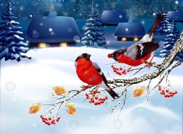 пейзаж, снегири, снег, зима