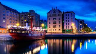 города, хельсинки , финляндия, вечер, корабль