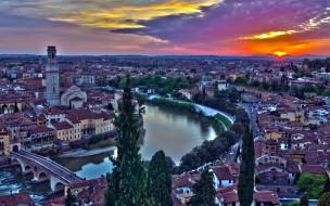 города, верона , италия, река, закат, мост, панорама, сумерки
