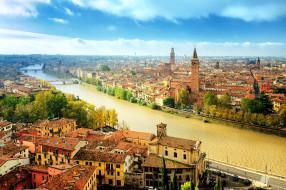 города, верона , италия, мосты, река, панорама