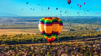 много, город, панорама, шары, полет