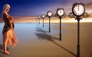 разное, компьютерный дизайн, песок, девушка, часы, вода, небо, фон