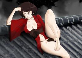 аниме, red ninja, кимоно, девушка, фон, крыша