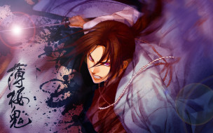 аниме, hakuouki, самурай, катана, кровь, shinsengumi, kitan, демоны, бледной, сакуры, yone, kazuki, art, hijikata, toshizou, атака