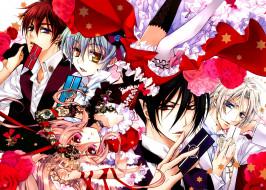 аниме, kiss of rose princess, стебли, с, шипами, чёрная, роза, красные, глаза, лепестки, белый, фон, art, mutsuki, kurama, парень, kiss, of, rose, princess, aya, shouoto