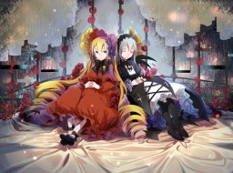 аниме, rozen maiden, взгляд, фон, девушки