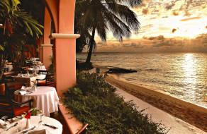 интерьер, кафе,  рестораны,  отели, закат, ресторан, пляж, море