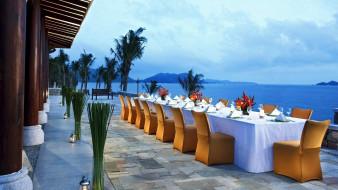 интерьер, кафе,  рестораны,  отели, море, банкет, терраса, пейзаж