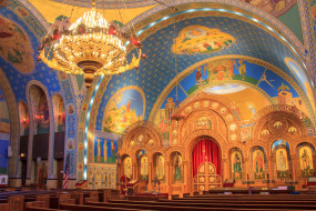 интерьер, убранство,  роспись храма, Чикаго, украинская, католическая, парафия, религия, церковь, святых, владимира, и, ольги, сша, иллинойс
