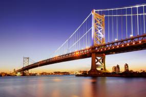 города, - мосты, филадельфия, река, делавэр, опора, ночь, огни, мост, бенджамина, франклина