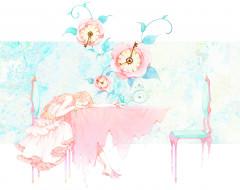 обои для рабочего стола 3073x2438 аниме, unknown,  другое, часы, розы, девушка, moss