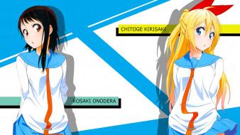 обои для рабочего стола 1920x1080 аниме, nisekoi, фон, взгляд, девушки