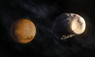 космос, марс, звезды, планета, спутник, фобос